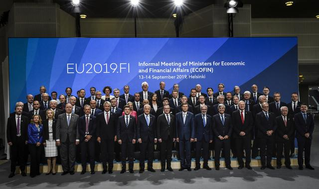 FILE PHOTO - Finance ministers and delegates pose for a family photo of the informal meeting of ministers for economic and financial affairs (ECOFIN) and Eurogroup in Helsinki, Finland, 13 September 2019. Emmi Korhonen via REUTERS