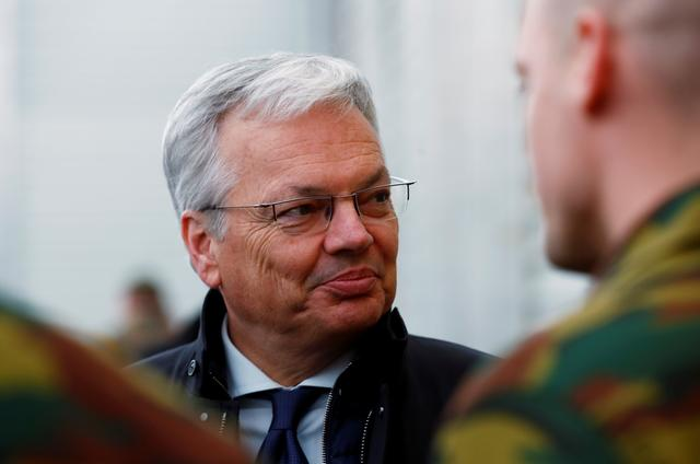 FILE PHOTO: Belgian minister Didier Reynders visits Belgian soldiers deployed to the NATO enhanced Forward Presence battle group at Tapa military base, Estonia April 2, 2019. REUTERS/Ints Kalnins/File Photo