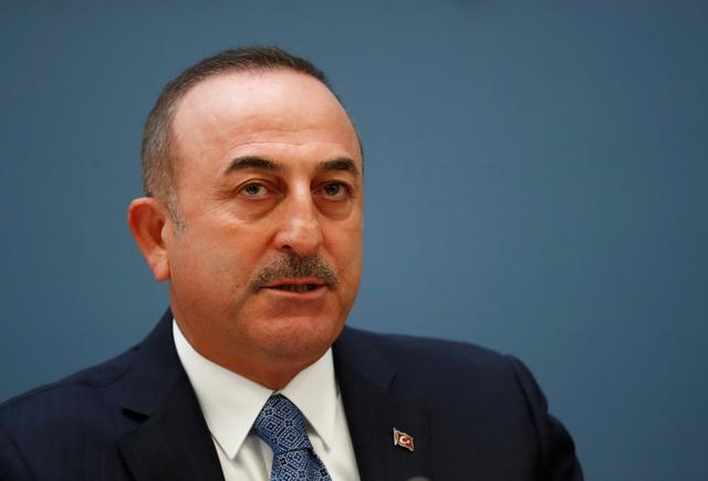 Turkish Foreign Minister Mevlut Cavusoglu attends a news conference in Riga, Latvia May 16, 2019. REUTERS/Ints Kalnins