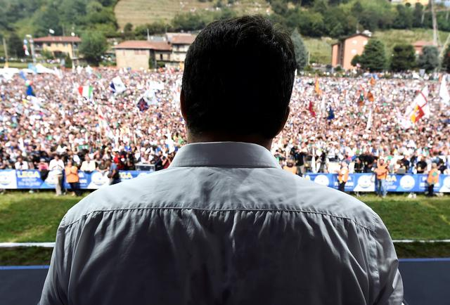 League party leader Matteo Salvini attends a rally in Pontida, Italy, September 15, 2019. REUTERS/Flavio Lo Scalzo