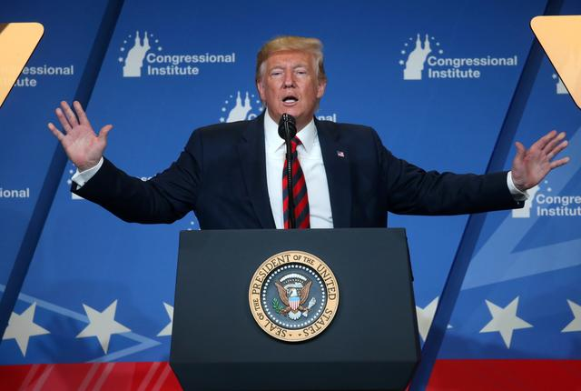FILE PHOTO: U.S. President Donald Trump speaks at the 2019 House Republican Conference Member Retreat dinner in Baltimore, Maryland, U.S., September 12, 2019. REUTERS/Leah Millis/File Photo
