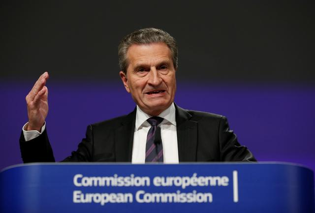 FILE PHOTO: European Union Budget Commissioner Guenther Oettinger holds a news conference to present the EU executive's final proposal for the bloc's next long-term budget, in Brussels, Belgium, May 2, 2018. REUTERS/Francois Lenoir