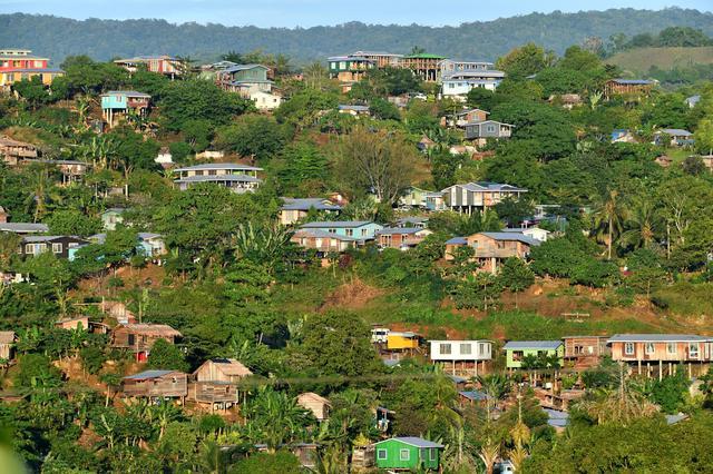 Houses are seen in Honiara in the Solomon Islands, June 3, 2019.  AAP Image/Darren England/via REUTERS