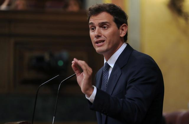 Ciudadanos leader Albert Rivera delivers a speech during the investiture debate at the Parliament in Madrid, Spain, July 22, 2019. REUTERS/Sergio Perez