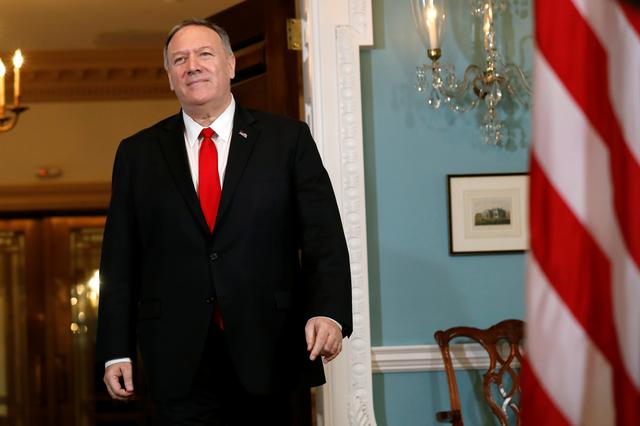 FILE PHOTO: U.S. Secretary of State Mike Pompeo walks after his meeting with Brazilian Foreign Minister Ernesto Araujo at the State Department in Washington, U.S., September 13, 2019. REUTERS/Yuri Gripas