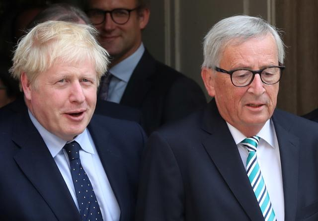 British Prime Minister Boris Johnson and European Commission President Jean-Claude Juncker leave after their meeting in Luxembourg, September 16, 2019. REUTERS/Yves Herman