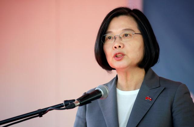 Taiwan's President Tsai Ing-wen speaks during her visit in Port-au-Prince, Haiti July 13, 2019. REUTERS/Andres Martinez Casares