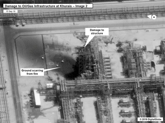 A satellite image showing damage to oil/gas Saudi Aramco infrastructure at Khurais, in Saudi Arabia in this handout picture released by the U.S Government September 15, 2019.  U.S. Government/DigitalGlobe/Handout via REUTERS