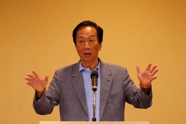 FILE PHOTO: Foxconn Technology Group founder and chairman, Terry Gou, speaks during a news conference after his trip to the U.S., in Taipei, Taiwan May 6, 2019. REUTERS/Tyrone Siu/File Photo