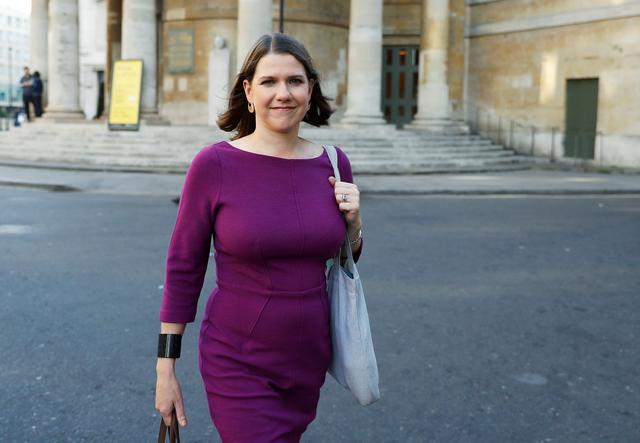 FILE PHOTO: Britain's Liberal Democrats leader Jo Swinson leaves BBC studios in London, Britain, September 15, 2019. REUTERS/Peter Nicholls