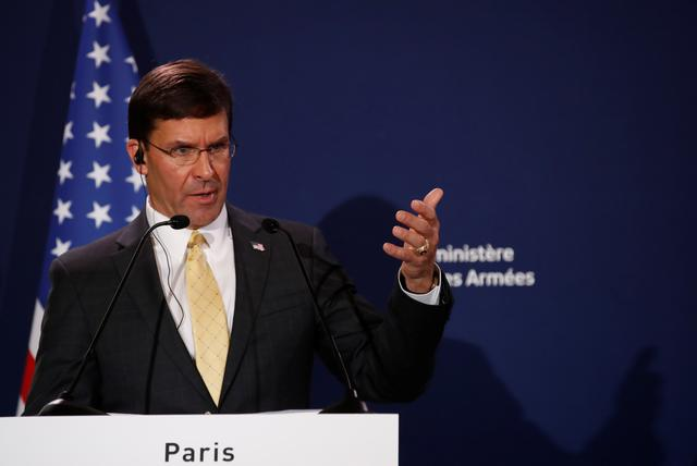 FILE PHOTO: U.S. Defense Secretary Mark Esper holds a news conference with French Defense Minister Florence Parly (not pictured) at the residence of French Defense Minister in Paris, France, September 7, 2019. REUTERS/Christian Hartmann
