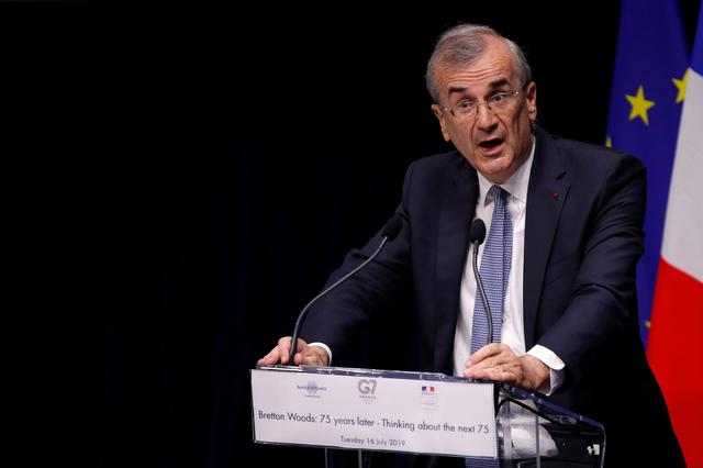 """FILE PHOTO: Governor of the Bank of France Francois Villeroy de Galhau delivers a speech to open a conference entitled """"Bretton Woods: 75 years later"""" in Paris, France, July 16, 2019. REUTERS/Philippe Wojazer"""