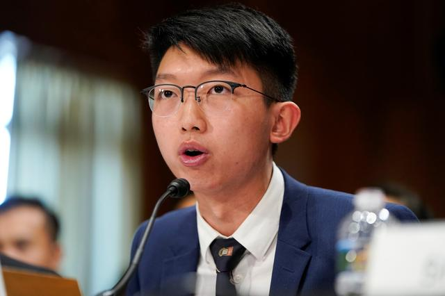 Sunny Cheung, spokesperson of the Hong Kong Higher Education International Affairs Delegation (HKIAD), testifies at a Congressional-Executive Commission on China (CECC) hearing on Capitol Hill in Washington, U.S., September 17, 2019.  REUTERS/Joshua Roberts