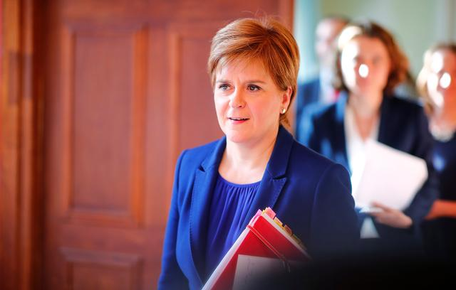 FILE PHOTO: Scotland's First Minister Nicola Sturgeon attends a news conference in Berlin, Germany, September 18, 2019. REUTERS/Hannibal Hanschke