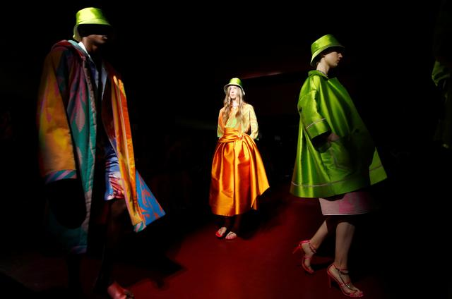Models present creations from the Peter Pilotto Spring/Summer 2020 collection during fashion week in Milan, Italy, September 18, 2019. REUTERS/Alessandro Garofalo