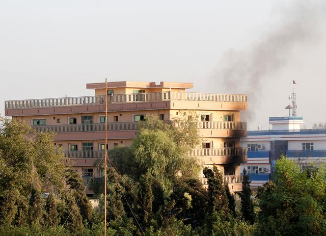 Smoke rises from a government building which is targeted by gunmen in Jalalabad city, Afghanistan September 18, 2019. REUTERS/Parwiz