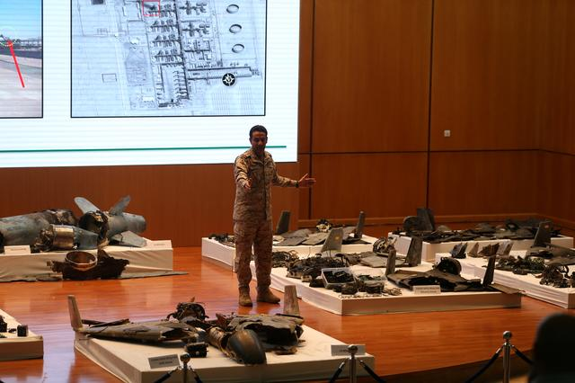 Saudi defence ministry spokesman Colonel Turki Al-Malik displays remains of the missiles which Saudi government says were used to attack an Aramco oil facility, during a news conference in Riyadh, Saudi Arabia September 18, 2019. REUTERS/Hamad I Mohammed