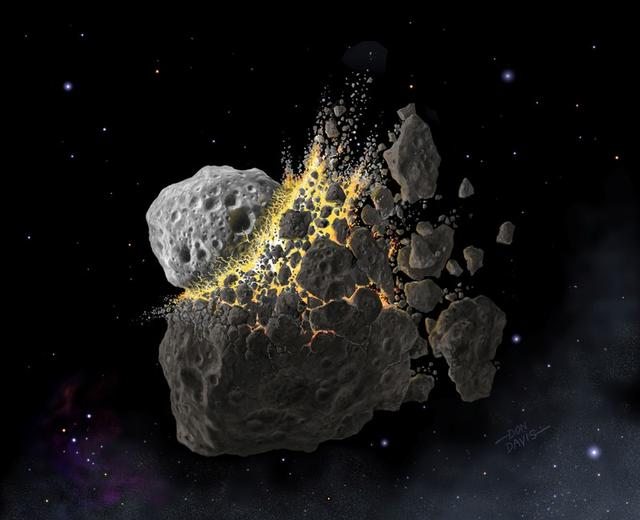 FILE PHOTO: This illustration shows a giant asteroid collision between Mars and Jupiter that occurred 466 million years ago and produced the dust that led to an ice age on Earth. Don Davis/Southwest Research Institute/Handout via REUTERS