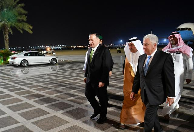 U.S. Secretary of State Mike Pompeo walks after stepping off his plane upon arrival at King Abdulaziz International Airport in Jeddah, Saudi Arabia, September 18, 2019. Mandel Ngan/Pool via REUTERS