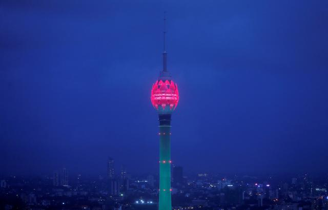 FILE PHOTO: The Lotus Tower, the tallest tower in South Asia in shape of a 356-meter lotus and built with Chinese funding, is seen during its launching ceremony in Colombo, Sri Lanka September 16, 2019. REUTERS/Dinuka Liyanawatte/File Photo