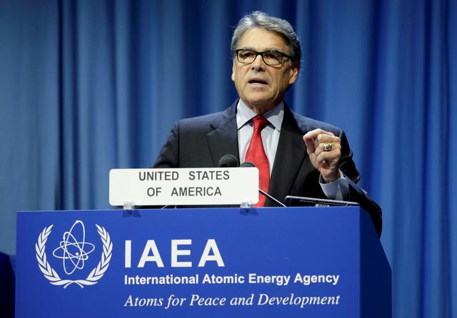 FILE PHOTO: U.S. Energy Secretary Rick Perry attends the opening of the International Atomic Energy Agency (IAEA) General Conference at their headquarters in Vienna, Austria September 16, 2019.   REUTERS/Leonhard Foeger/File Photo/File Photo