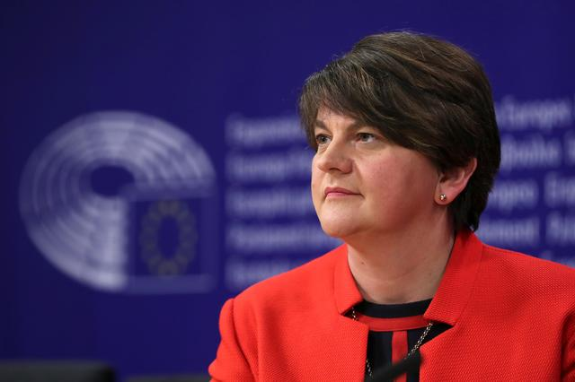 FILE PHOTO: Northern Ireland's Democratic Unionist Party (DUP) leader Arlene Foster and DUP member Diane Dodds (not pictured) hold a news conference after a meeting with EU Chief Brexit Negotiator Michel Barnier in Brussels, Belgium April 11, 2019. REUTERS/Yves Herman