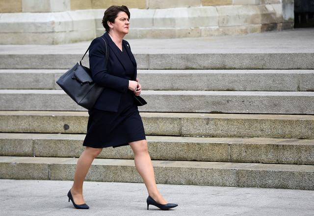 FILE PHOTO: Northern Ireland's Democratic Unionist Party (DUP) leader Arlene Foster arrives at the funeral of journalist Lyra McKee at St. Anne's Cathedral in Belfast, Northern Ireland April 24, 2019. REUTERS/Clodagh Kilcoyne