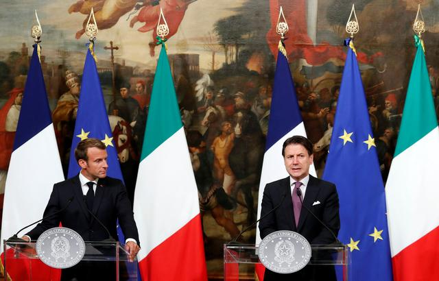 French President Emmanuel Macron and Italian Prime Minister Giuseppe Conte speak to the media ahead of a working dinner, in Rome, Italy September 18, 2019. REUTERS/Remo Casilli