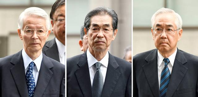 FILE PHOTO: A combination picture shows (L-R) former Tokyo Electric Power Co.(TEPCO) Chairman Tsunehisa Katsumata and Ichiro Takekuro and Sakae Muto, former vice presidents of TEPCO, arriving at the Tokyo District Court for the first criminal trial over the 2011 Fukushima Daiichi nuclear plant disaster in Tokyo, Japan in this photo taken by Kyodo June 30, 2017. Mandatory credit Kyodo/via REUTERS