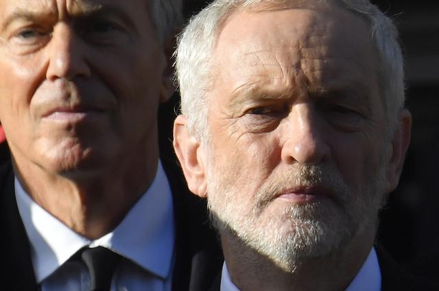 FILE PHOTO: Britain's Opposition Labour Party Leader Jeremy Corbyn (R) and former Prime Minister Tony Blair take part in the Remembrance Sunday ceremony at the Cenotaph in Westminster, central London, Britain November 13, 2016. REUTERS/Toby Melville