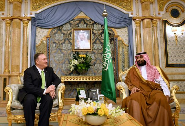 U.S. Secretary of State Mike Pompeo takes part in a meeting with Saudi Arabia's Crown Prince Mohammed bin Salman in Jeddah, Saudi Arabia, September 18, 2019. Mandel Ngan/Pool via REUTERS