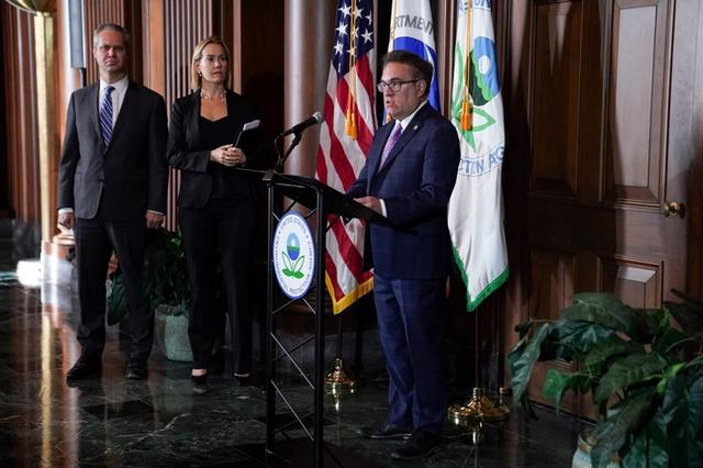 U.S Environmental Protection Agency Administrator Andrew Wheeler speaks during a press conference on the One National Program Rule on federal preemption of state fuel economy standards at EPA Headquarters in Washington, U.S., September 19, 2019. REUTERS/Sarah Silbiger