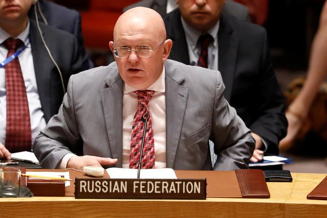 FILE PHOTO: Vassily Nebenzia, Russian Ambassador to the United Nations, addresses the U.N. Security Council briefing on implementation of the resolution that endorsed the Iran nuclear deal at the United Nations headquarters in New York, U.S., June 26, 2019.  REUTERS/Shannon Stapleton