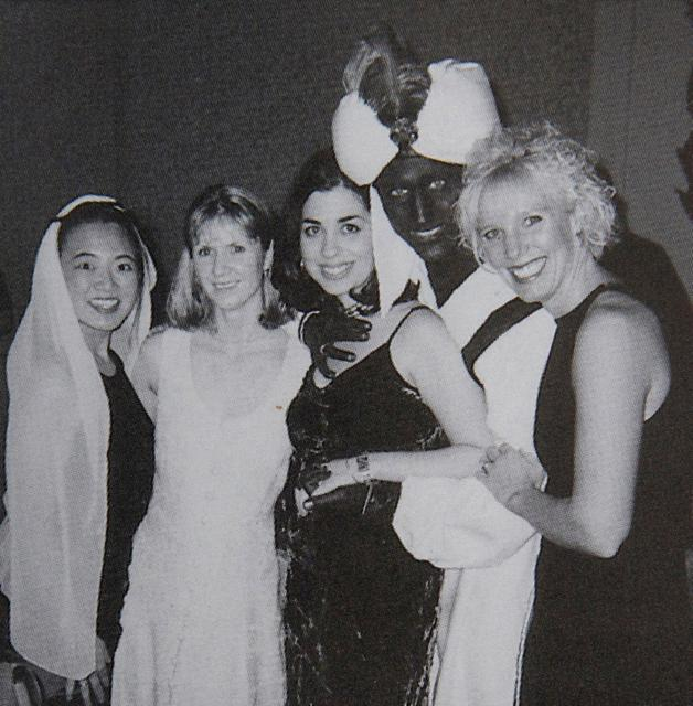 "Canada's Prime Minister Justin Trudeau, with his face and hands painted brown, poses with others during an ""Arabian Nights"" party when he was a 29-year-old teacher at the West Point Grey Academy in Vancouver, Canada, in this photo published in the academy's 2000-2001 yearbook. This image, published in The View yearbook, was obtained by Time"