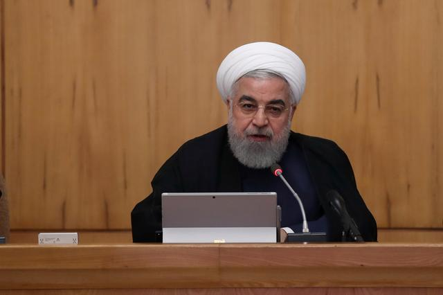 FILE PHOTO: Iranian President Hassan Rouhani speaks during the cabinet meeting in Tehran, Iran, September 18, 2019. Official President website/Handout via REUTERS