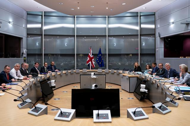 Britain's Brexit Secretary Stephen Barclay, British Prime Minister Boris Johnson's Europe Adviser David Frost and Permanent Representative to the EU Tim Barrow attend a meeting with European Union's chief Brexit negotiator Michel Barnier at the EU Commission headquarters in Brussels, Belgium, September 20, 2019.   Kenzo Tribouillard/Pool via REUTERS