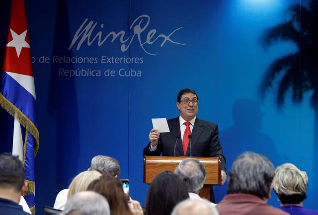 Cuba's Foreign Minister Bruno Rodriguez speaks during a news conference in Havana, Cuba September 20, 2019. REUTERS/Stringer