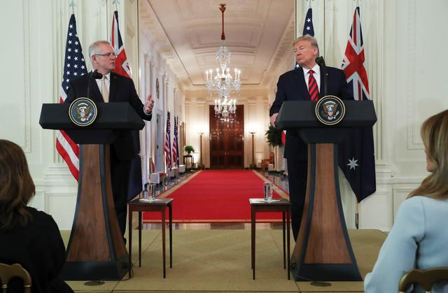 Australia's Prime Minister Scott Morrison speaks during a news conference with U.S. President Donald Trump in the East Room of the White House in Washington, U.S., September 20, 2019. REUTERS/Jonathan Ernst