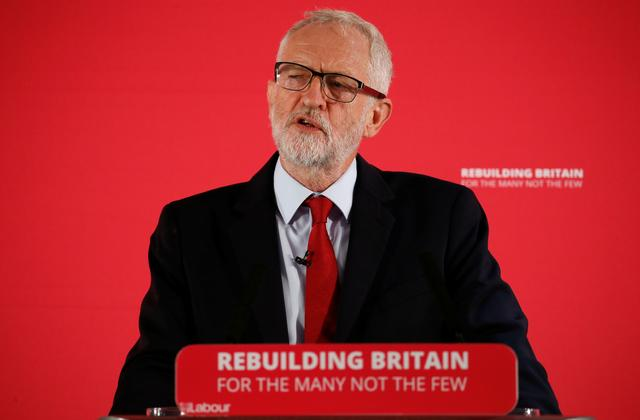 FILE PHOTO: Britain's opposition Labour Party leader Jeremy Corbyn speaks during a shadow cabinet meeting in Salford, Britain, September 2, 2019. REUTERS/Andrew Yates