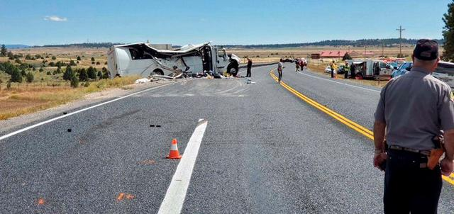 A view shows a bus carrying Chinese-speaking tourists after it crashed off a road near Bryce Canyon National Park in Utah, U.S., September 20, 2019. Utah Highway Patrol/Handout via REUTERS