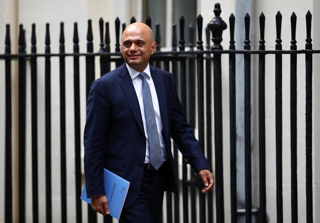 FILE PHOTO: Britain's Chancellor of the Exchequer Sajid Javid is seen outside Downing Street in London, Britain, September 4, 2019. REUTERS/Hannah McKay
