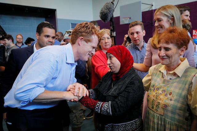 U.S. Representative Joe Kennedy III and his wife Lauren greet supporters after announcing his candidacy for the U.S. Senate in Boston, Massachusetts, U.S., September 21, 2019.     REUTERS/Brian Snyder