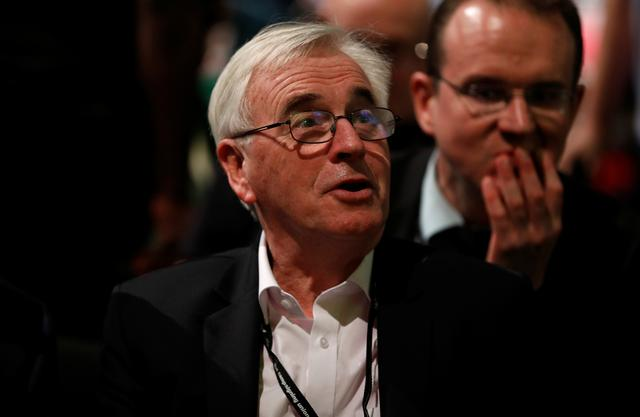 British Labour MP John McDonnell attends the Labour Party annual conference in Brighton, Britain September 21, 2019.  REUTERS/Peter Nicholls