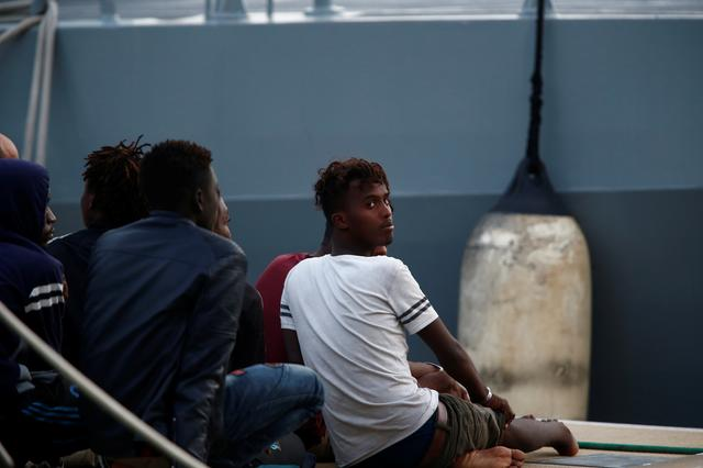 Rescued migrants arrive on an Armed Forces of Malta patrol boat in Valletta's Marsamxett Harbour, Malta September 21, 2019. REUTERS/Darrin Zammit Lupi