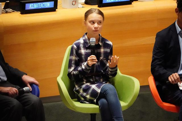 Swedish environmental activist Greta Thunberg speaks at the Youth Climate Summit at United Nations HQ in the Manhattan borough of New York, New York, U.S., September 21, 2019. REUTERS/Carlo Allegri