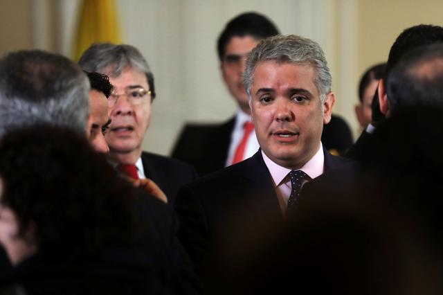 FILE PHOTO: Colombia's President Ivan Duque is seen after a news conference at the Presidential Palace in Bogota, Colombia August 5, 2019. REUTERS/Luisa Gonzalez