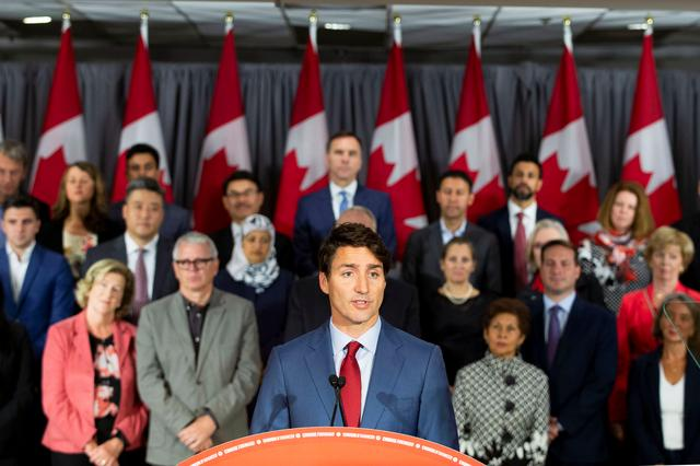 FILE PHOTO - Canada's Prime Minister Justin Trudeau speaks during an election campaign stop in Toronto, Ontario, Canada September 20, 2019. REUTERS/Carlos Osorio