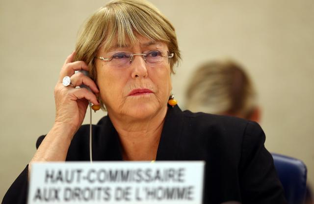 U.N. High Commissioner for Human Rights Michelle Bachelet attends a session of the Human Rights Council at the United Nations in Geneva, Switzerland, September 9, 2019.  REUTERS/Denis Balibouse
