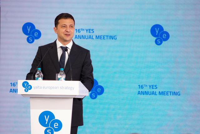 FILE PHOTO: Ukrainian President Volodymyr Zelenskiy delivers a speech during the Yalta European Strategy (YES) annual meeting in Kiev, Ukraine September 13, 2019. Ukrainian Presidential Press Service/Handout via REUTERS/File Photo