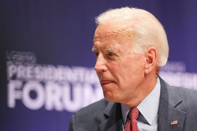 FILE PHOTO: Democratic presidential candidate and former Vice President Joe Biden speaks at the One Iowa and GLAAD LGBTQ Presidential Forum in Cedar Rapids, Iowa, September 20, 2019. REUTERS/Scott Morgan